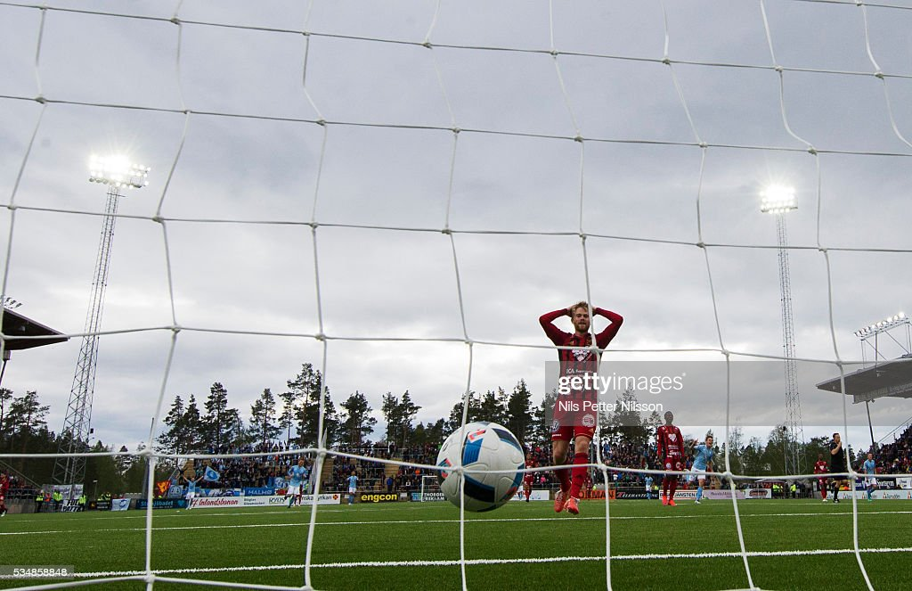 Dennis Widgren of Ostersunds FK dejected after Malmo FF scores 1-3 during the Allsvenskan match between Ostersunds FK and Malmo FF at Jamtkraft Arena on May 28, 2016 in Ostersund, Sweden.