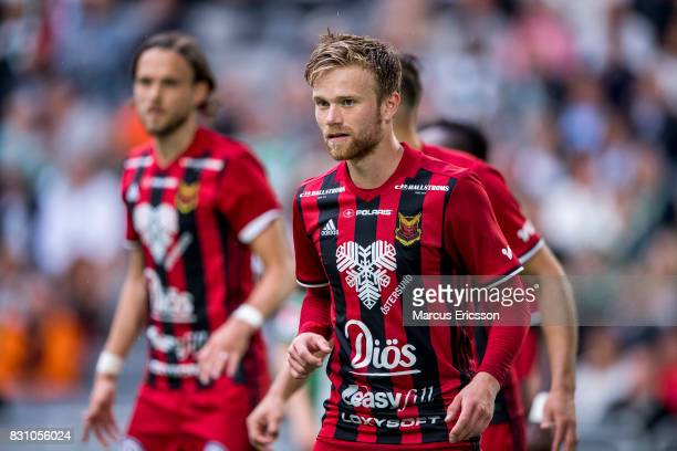 Dennis Widgren of Ostersunds FK during the Allsvenskan match between Hammarby IF and Ostersunds FK at Tele2 Arena on August 14 2017 in Stockholm...