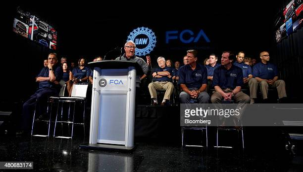 Dennis Williams president of the United Auto Workers union speaks during the start of labor negotiations with Fiat Chrysler Automobiles NV at the...