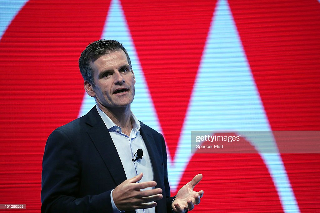 Dennis Woodside, chief executive officer of Motorola Mobility, introduces three new smartphones under its Razr brand that will become available for Verizon customers on September 5, 2012 in New York City. The new phones, the Droid Razr HD, the Razr M and the Razr Maxx HD, will all use Google's Android operating system. Motorola Mobility was acquired by google in August of 2011.