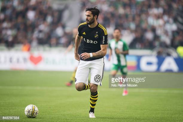 Denny Avdic of AIK during the Allsvenskan match between Hammarby IF and AIK at Tele2 Arena on September 10 2017 in Stockholm Sweden