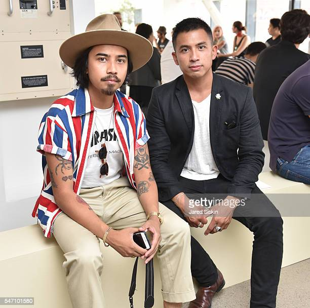 Denny Balmaceda and Eric Cano attend Deveaux Front Row New York Fashion Week Men's S/S 2017 at 50 Varick Street on July 13 2016 in New York City