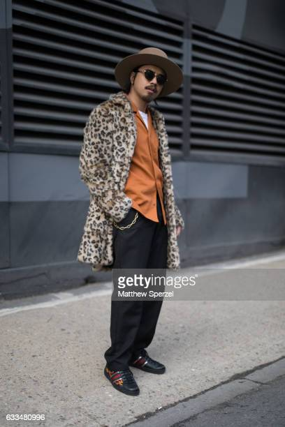Denny Balmaceda is seen attending Nautica/Matiere/Rochambeau wearing a Deveaux shirt a Stetson hat Gucci shoes and Topman coat on February 1 2017 in...