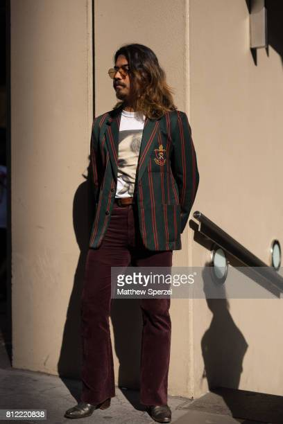 Denny Balmaceda is seen attending New York Men's Day at Dune Studios during Men's New York Fashion Week wearing vintage and YSL shoes on July 10 2017...