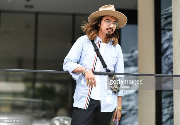 Denny Balmaceda is seen outside the Matiere show during New York Fashion Week Men's S/S 2018 at Skylight Clarkson Sq on July 12 2017 in New York City
