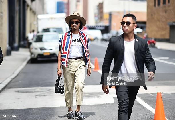 Denny Balmaceda is seen outside the Nautica show wearing a Thrasher tshirt vintage button down shirt and Thom Browne shoes during New York Fashion...