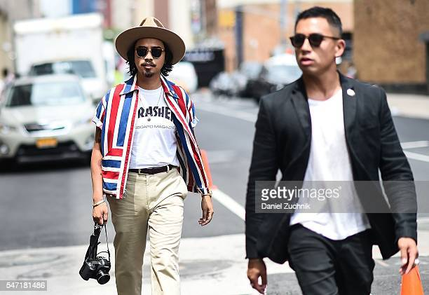 Denny Balmaceda is seen outside the Nautica show wearing a Thrasher tshirt vintage button down shirt during New York Fashion Week Men's S/S 2017 Day...