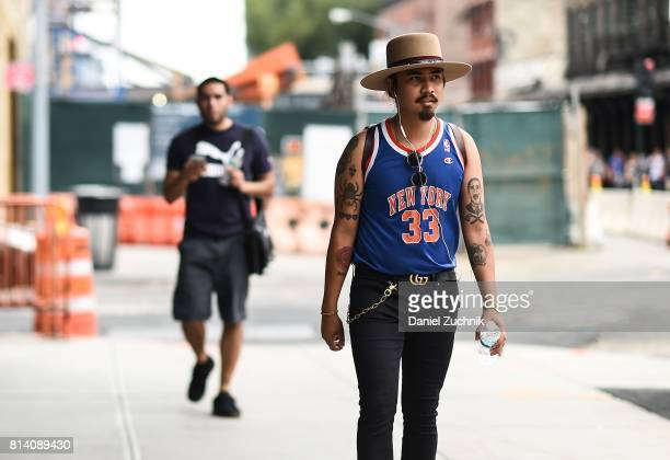 Denny Balmaceda is seen outside the Theory show during New York Fashion Week Men's S/S 2018 at Skylight Clarkson Sq on July 13 2017 in New York City