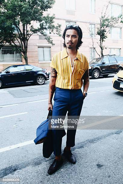 Denny Balmaceda wearing Another Man's Treasure shirt DARKOH pants andPaul Drish shoes seen before Chapter runway show during New York Men's Fashion...