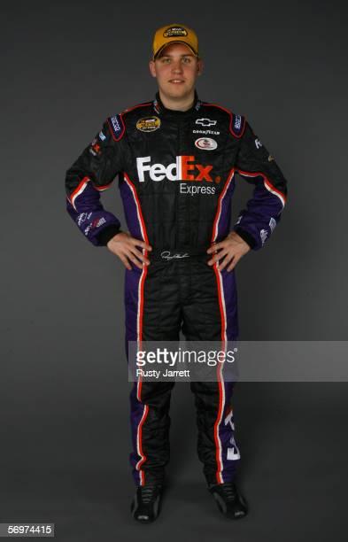 Denny Hamlin driver of Federal Express Chevrolet at NASCAR media day Daytona International Speedway on February 9 2006 in Daytona Florida