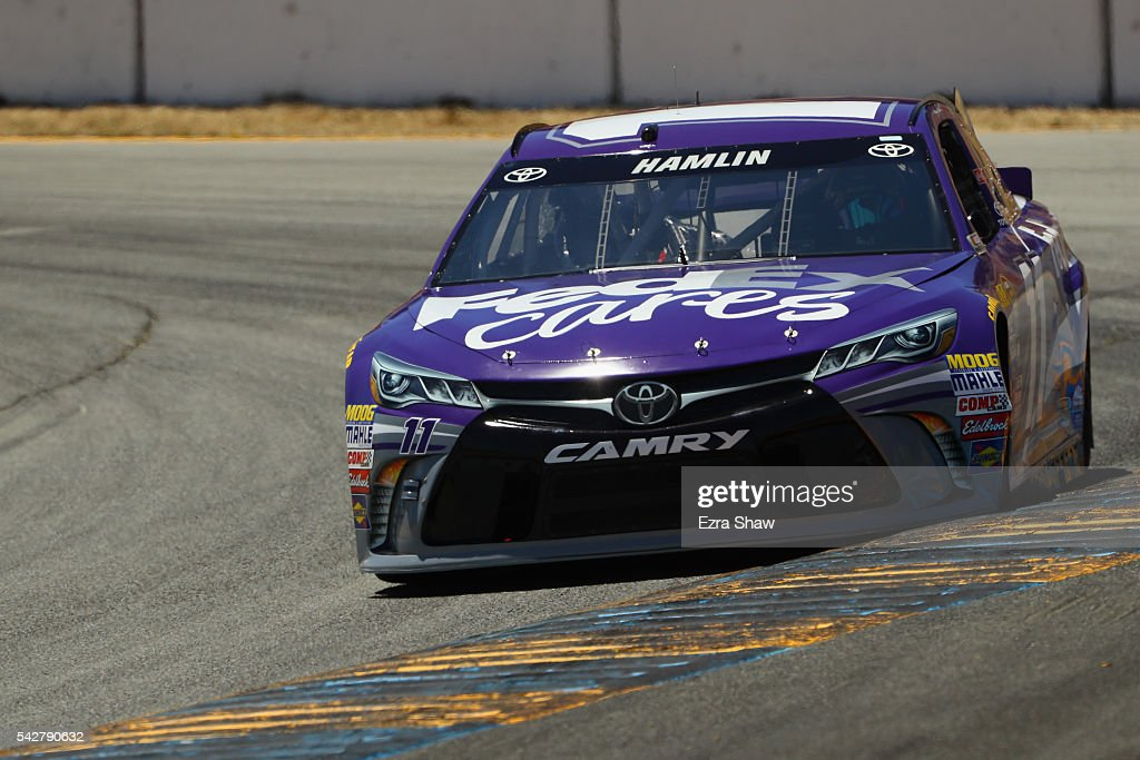 <a gi-track='captionPersonalityLinkClicked' href=/galleries/search?phrase=Denny+Hamlin&family=editorial&specificpeople=504674 ng-click='$event.stopPropagation()'>Denny Hamlin</a>, driver of the #11 FedEx Cares Toyota, practices for the NASCAR Sprint Cup Series Toyota/Save Mart 350 at Sonoma Raceway on June 24, 2016 in Sonoma, California.