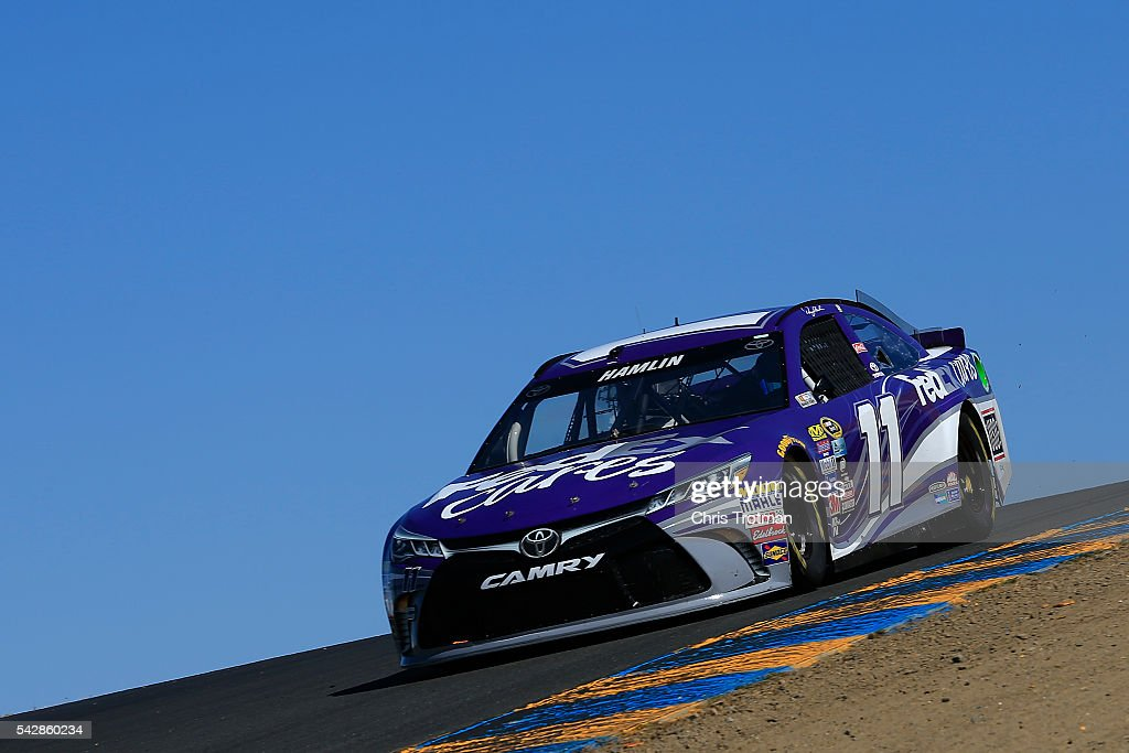 Denny Hamlin, driver of the #11 FedEx Cares Toyota, practices for the NASCAR Sprint Cup Series Toyota/Save Mart 350 at Sonoma Raceway on June 24, 2016 in Sonoma, California.