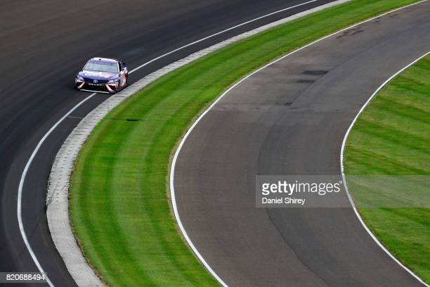 Denny Hamlin driver of the FedEx Cares Toyota practices for the Monster Energy NASCAR Cup Series Brickyard 400 at Indianapolis Motorspeedway on July...