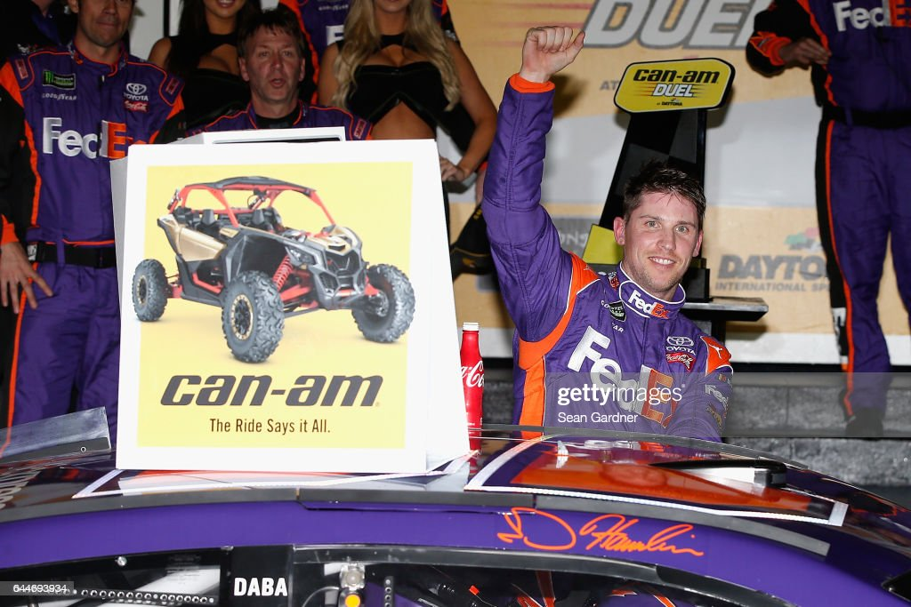 Denny Hamlin, driver of the #11 FedEx Express Toyota, celebrates in Victory Lane after winning the Monster Energy NASCAR Cup Series Can-Am Duel 2 at Daytona International Speedway on February 23, 2017 in Daytona Beach, Florida.