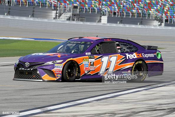 Denny Hamlin driver of the FedEx Express Toyota during practice for the NASCAR Monster Energy Cup Series Daytona 500 on February 24 at the Daytona...