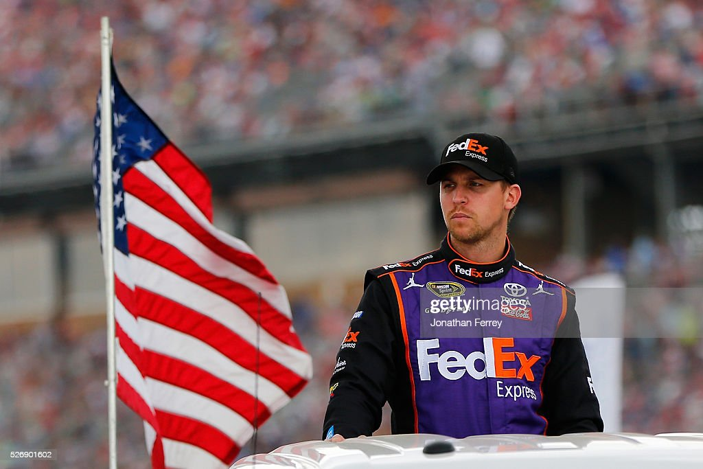 <a gi-track='captionPersonalityLinkClicked' href=/galleries/search?phrase=Denny+Hamlin&family=editorial&specificpeople=504674 ng-click='$event.stopPropagation()'>Denny Hamlin</a>, driver of the #11 FedEx Express Toyota, is introduced prior to the NASCAR Sprint Cup Series GEICO 500 at Talladega Superspeedway on May 1, 2016 in Talladega, Alabama.