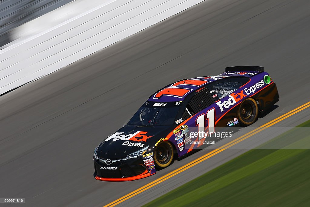<a gi-track='captionPersonalityLinkClicked' href=/galleries/search?phrase=Denny+Hamlin&family=editorial&specificpeople=504674 ng-click='$event.stopPropagation()'>Denny Hamlin</a>, driver of the #11 FedEx Express Toyota, practices for the NASCAR Sprint Cup Series Daytona 500 at Daytona International Speedway on February 13, 2016 in Daytona Beach, Florida.