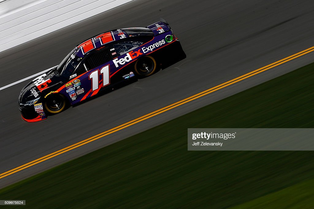 Denny Hamlin, driver of the #11 FedEx Express Toyota, practices for the NASCAR Sprint Cup Series Daytona 500 at Daytona International Speedway on February 13, 2016 in Daytona Beach, Florida.