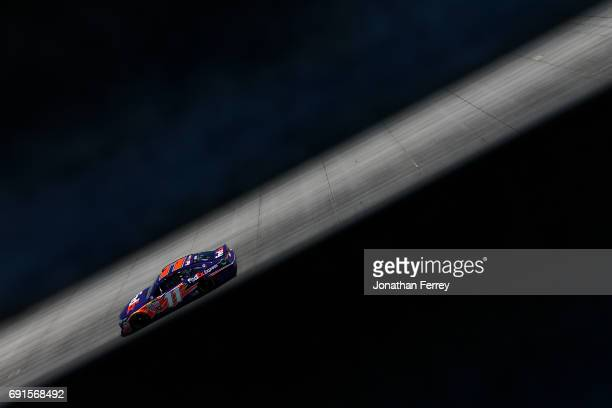 Denny Hamlin driver of the FedEx Express Toyota practices for the Monster Energy NASCAR Cup Series AAA 400 Drive for Autism at Dover International...