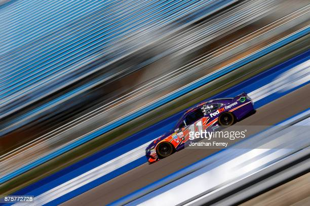 Denny Hamlin driver of the FedEx Express Toyota practices for the Monster Energy NASCAR Cup Series Championship Ford EcoBoost 400 at HomesteadMiami...