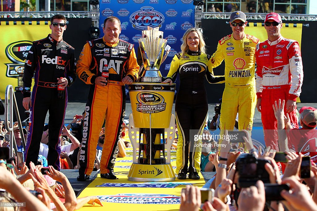Denny Hamlin driver of the FedEx Express Toyota Ryan Newman driver of the Caterpillar Chevrolet Miss Sprint Cup Kim Coon Joey Logano driver of the...