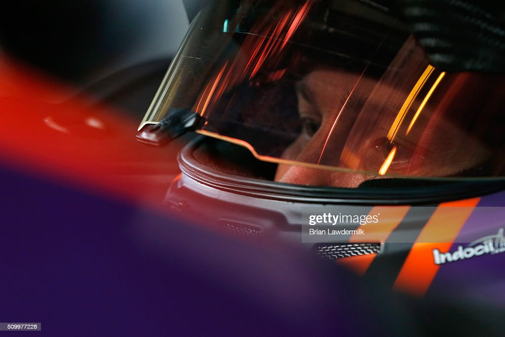 <a gi-track='captionPersonalityLinkClicked' href=/galleries/search?phrase=Denny+Hamlin&family=editorial&specificpeople=504674 ng-click='$event.stopPropagation()'>Denny Hamlin</a>, driver of the #11 FedEx Express Toyota, sits in his car during practice for the NASCAR Sprint Cup Series Daytona 500 at Daytona International Speedway on February 13, 2016 in Daytona Beach, Florida.
