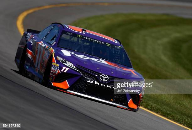 Denny Hamlin driver of the FedEx Freight Toyota practices for the Monster Energy NASCAR Cup Series Axalta presents the Pocono 400 at Pocono Raceway...