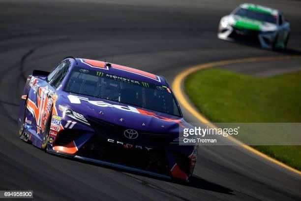 Denny Hamlin driver of the FedEx Freight Toyota racaes during the Monster Energy NASCAR Cup Series Axalta presents the Pocono 400 at Pocono Raceway...