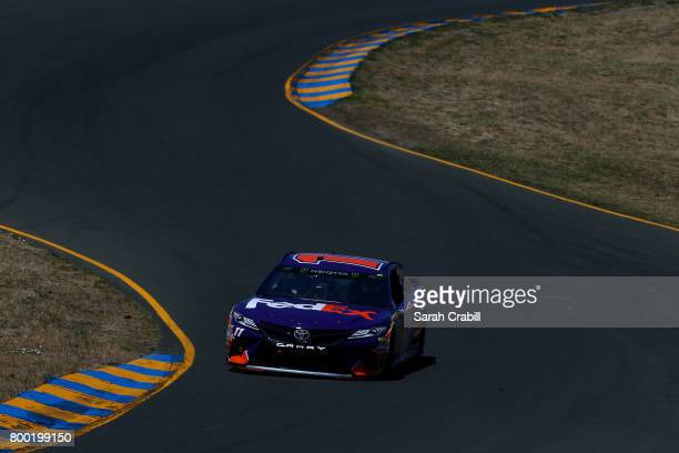 Denny Hamlin driver of the FedEx Ground Toyota drives during practice for the Monster Energy NASCAR Cup Series Toyota/Save Mart 350 at Sonoma Raceway...