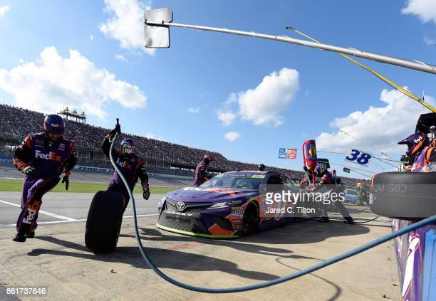 Denny Hamlin driver of the FedEx Ground Toyota during the Monster Energy NASCAR Cup Series Alabama 500 at Talladega Superspeedway on October 15 2017...