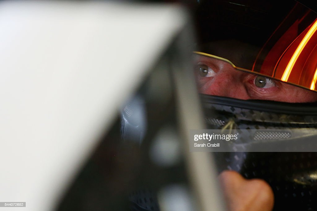 <a gi-track='captionPersonalityLinkClicked' href=/galleries/search?phrase=Denny+Hamlin&family=editorial&specificpeople=504674 ng-click='$event.stopPropagation()'>Denny Hamlin</a>, driver of the #11 FedEx Toyota, sits in his car during practice for the NASCAR Sprint Cup Series Coke Zero 400 at Daytona International Speedway on July 1, 2016 in Daytona Beach, Florida.