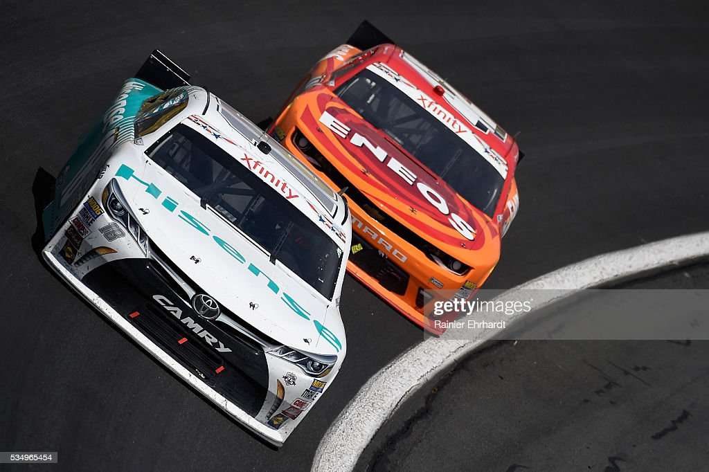 <a gi-track='captionPersonalityLinkClicked' href=/galleries/search?phrase=Denny+Hamlin&family=editorial&specificpeople=504674 ng-click='$event.stopPropagation()'>Denny Hamlin</a>, driver of the #18 Hisense USA Toyota, leads <a gi-track='captionPersonalityLinkClicked' href=/galleries/search?phrase=Kyle+Larson&family=editorial&specificpeople=2115989 ng-click='$event.stopPropagation()'>Kyle Larson</a>, driver of the #42 ENEOS Chevrolet, during the NASCAR XFINITY Series Hisense 300 at Charlotte Motor Speedway on May 28, 2016 in Charlotte, North Carolina.