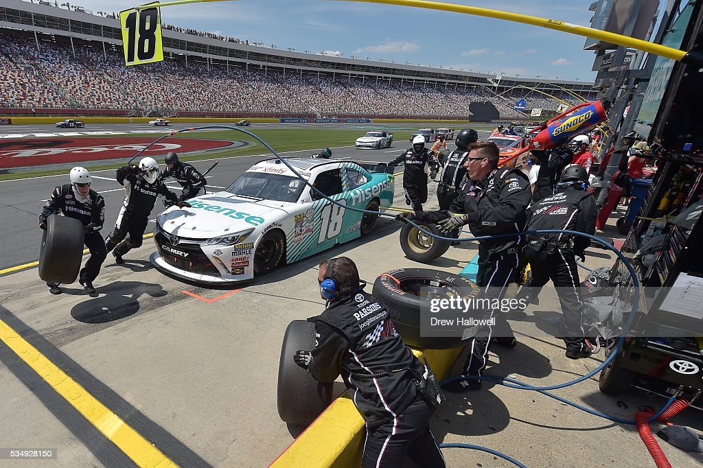 <a gi-track='captionPersonalityLinkClicked' href=/galleries/search?phrase=Denny+Hamlin&family=editorial&specificpeople=504674 ng-click='$event.stopPropagation()'>Denny Hamlin</a>, driver of the #18 Hisense USA Toyota, pits during the NASCAR XFINITY Series Hisense 300 at Charlotte Motor Speedway on May 28, 2016 in Charlotte, North Carolina.