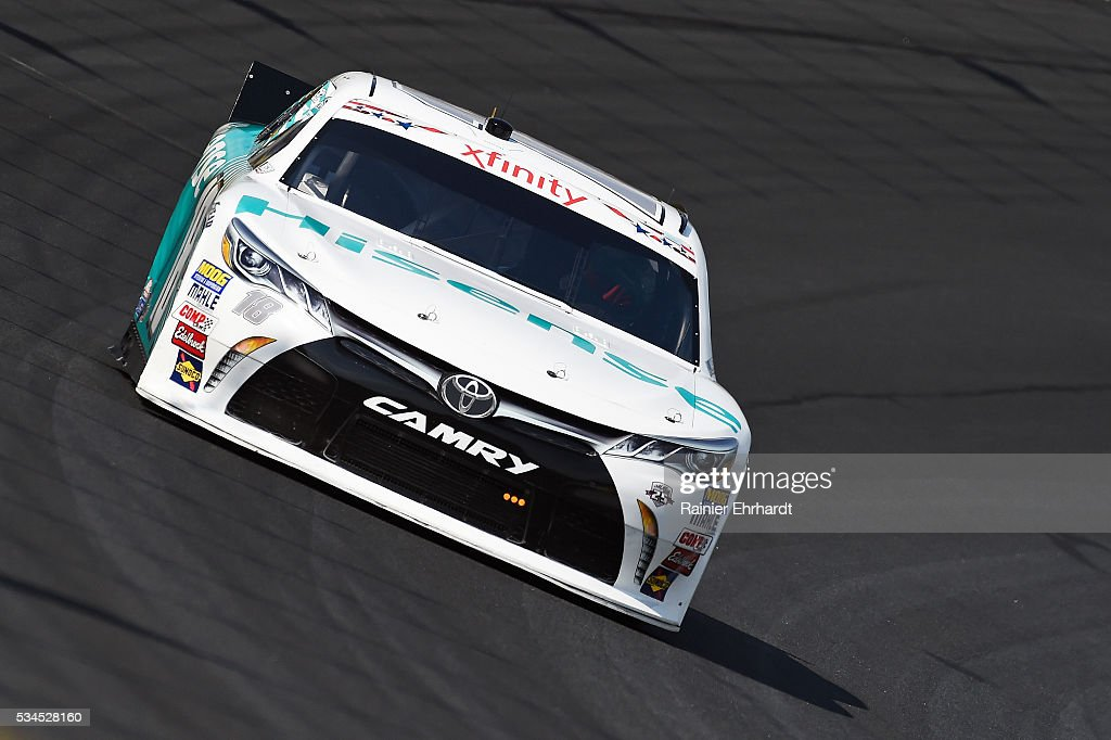 <a gi-track='captionPersonalityLinkClicked' href=/galleries/search?phrase=Denny+Hamlin&family=editorial&specificpeople=504674 ng-click='$event.stopPropagation()'>Denny Hamlin</a>, driver of the #18 Hisense USA Toyota, practices for the NASCAR XFINITY Series Hisense 4K TV 300 at Charlotte Motor Speedway on May 27, 2016 in Charlotte, North Carolina.