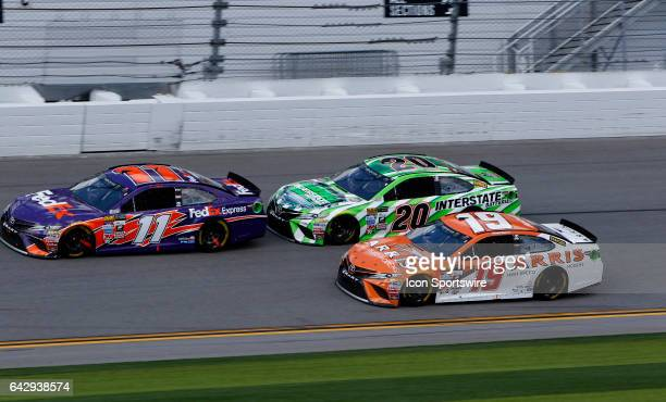 Denny Hamlin FedEx Express Toyota Camry Daniel Suarez Arris Toyota Camry Matt Kenseth interstate batteries toyota during the running of The Clash at...