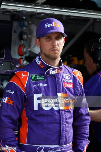 Denny Hamlin Joe Gibbs Racing FedEx Ground Toyota Camry during practice for the Bass Pro Shop NRA 500 at Bristol Motor Speedway on August 18 2017...