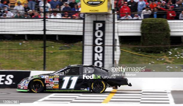 Denny Hamlin started in the Pole position and held on to cross the finish line and win the Pocono 500 NASCAR Nextel Cup Series Race held at Pocono...