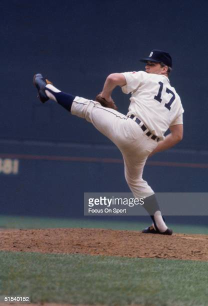 Denny McLain of the Detroit Tigers winds up for a pitch during the All Star Game at Robert F Kennedy Stadium in Washington DC in 1969