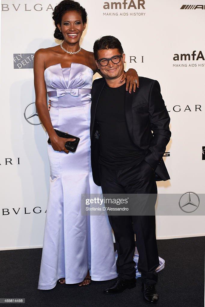 Denny Mendez and Oscar Generale attend the amfAR Milano 2014 - Gala as part of Milan Fashion Week Womenswear Spring/Summer 2015 on September 20, 2014 in Milan, Italy.