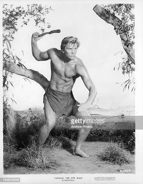 Denny Miller holds a knife backwards in a scene from the film 'Tarzan The Ape Man' 1959