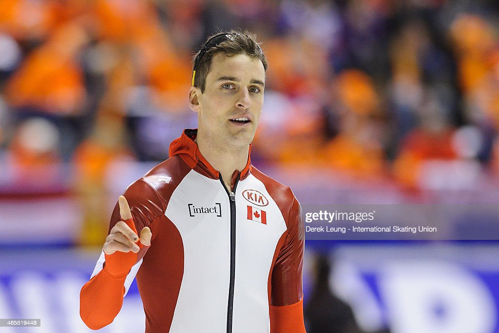 <a gi-track='captionPersonalityLinkClicked' href=/galleries/search?phrase=Denny+Morrison&family=editorial&specificpeople=726041 ng-click='$event.stopPropagation()'>Denny Morrison</a> of Canada reacts after checking his time in the men's 500m during the ISU World Allround Speed Skating Championships at Olympic Oval on March 7, 2015 in Calgary, Alberta, Canada. Denny placed first with a time of 34.98.