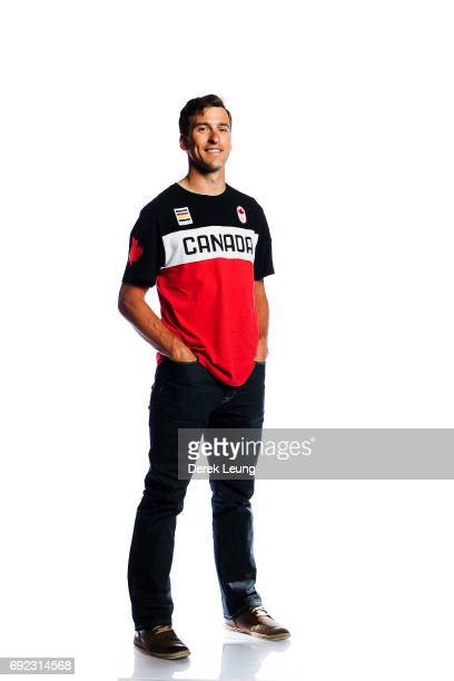 Denny Morrison poses for a portrait during the Canadian Olympic Committee Portrait Shoot on June 4 2017 in Calgary Alberta Canada