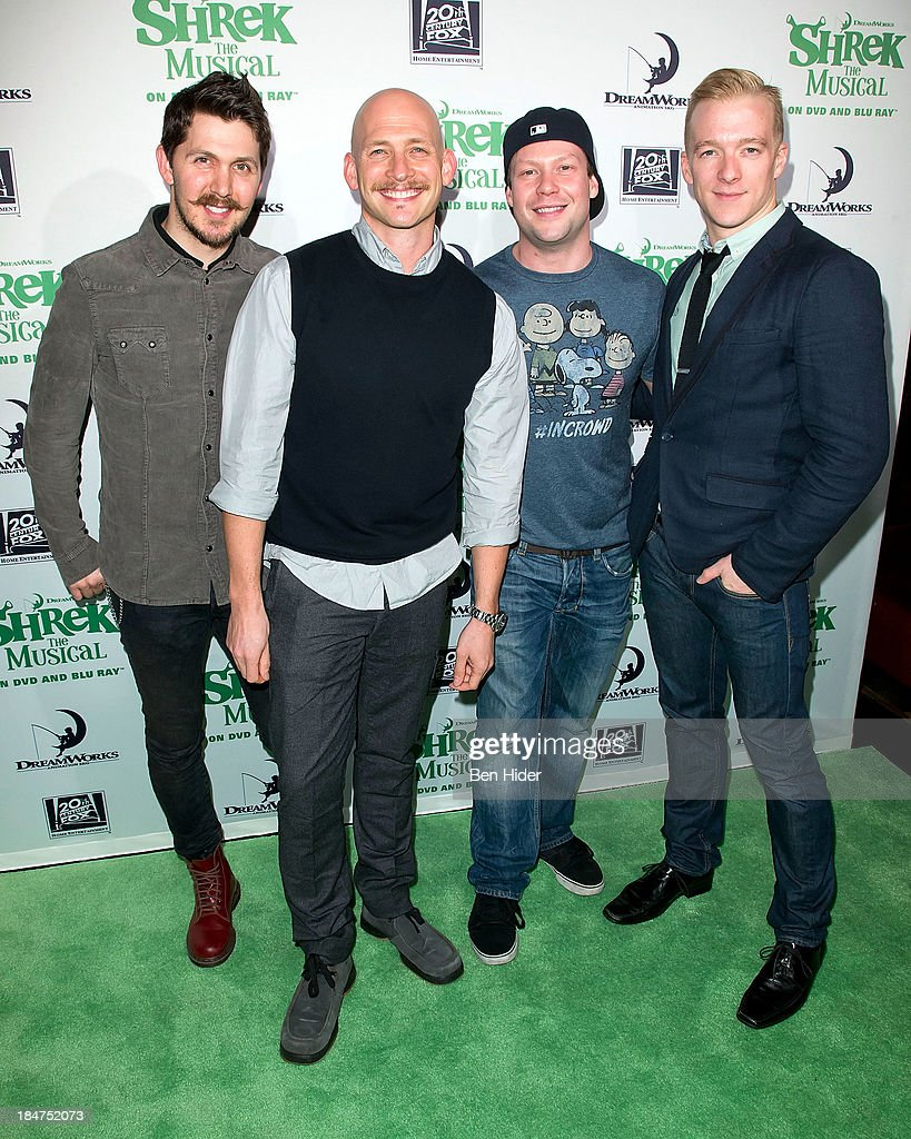 Denny Paschall, Justin Greer, Keven Quillon and Ryan Worsing attends the release party for 'Shrek: The Musical' Blue-Ray and DVD>> on October 15, 2013 in New York, United States.