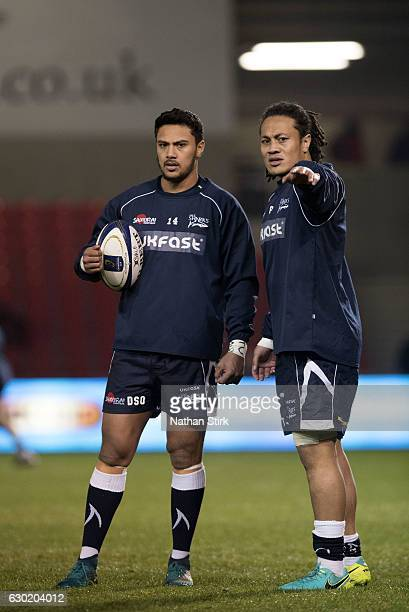 Denny Solomona and TJ Ioane of Sale Sharks warms up before the European Rugby Champions Cup match between Sale Sharks and Saracens at AJ Bell Stadium...