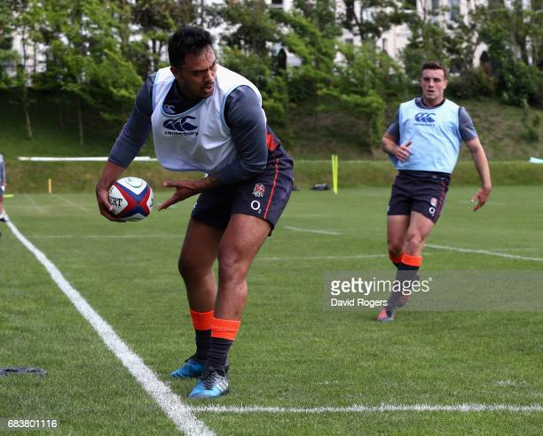 Denny Solomona holds onto the ball during the England training session held at Brighton College on May 16 2017 in Brighton England