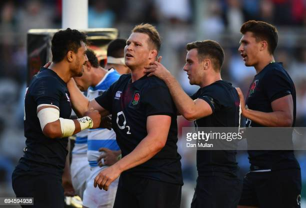 Denny Solomona of England celebrates scoring the winning try with his England team mates during the International Test match between Argentina and...