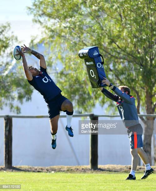 Denny Solomona of England claims the high ball during a training session at the Universitario Rugby Club on June 9 2017 in San Juan San Juan