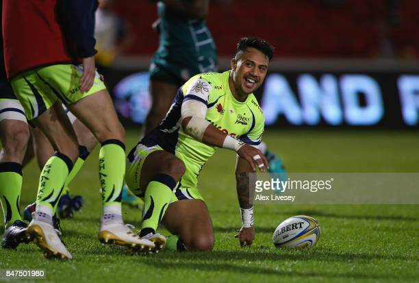 Denny Solomona of Sale Sharks celebrates after scoring his second try during the Aviva Premiership match between Sale Sharks and London Irish at AJ...