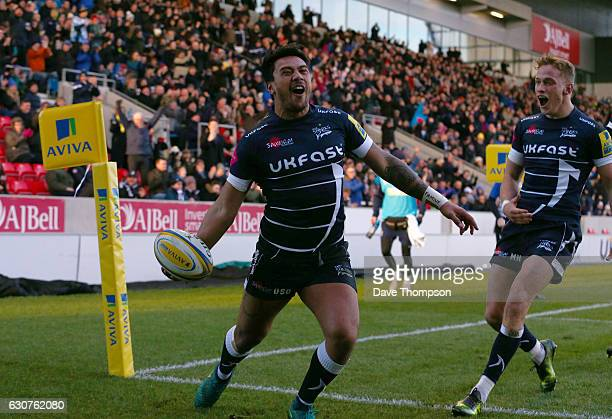 Denny Solomona of Sale Sharks celebrates scoring a try during the Aviva Premiership match between Sale Sharks and Bristol Rugby at AJ Bell Stadium on...
