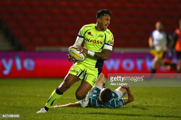 Denny Solomona of Sale Sharks crosses the line to score a try during the Aviva Premiership match between Sale Sharks and London Irish at AJ Bell...